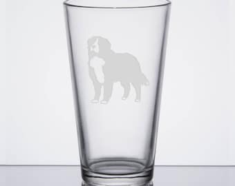 Bernese Mountain Dog Pint Glass, Berner, Etched Beer Glass