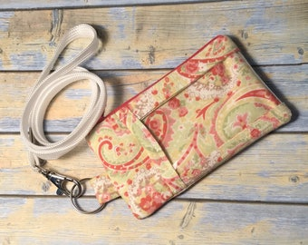 ID Card Holder Keychain Mini Wallet Zip Pouch Paisley Pink Yellow