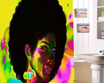 Disco Girl.. African American Woman.Shower Curtain/Room Decor