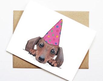 Birthday Card - Dachshund, Dog Birthday Card, Cute Birthday Card, Dog Card, Bday Card, Kids Birthday Card, Friend Birthday Card
