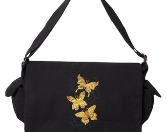 Steampunk Messenger Bag,  Nouveau - Butterfly Cascade Embroidered Canvas Cotton Messenger Bag