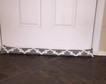 Door Draft Stopper - Gray Door Draft Stopper - Window or Door Snake - Breeze Blocker