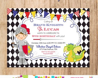BRAVE KNIGHT invitation - YOU Print - Any hair colour