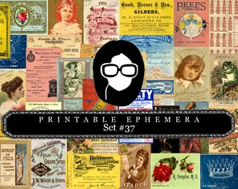 Vintage Ephemera Pack - Printable Ephemera Set #37 - 30 Page Instant Download - junk journal kit, journaling kit, ephemera paper pack