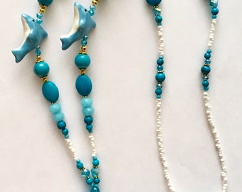 OBC033 Ocean Blue Turquoise Dolphin Lanyard