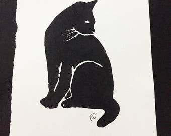 A5 Black Cat Art Print