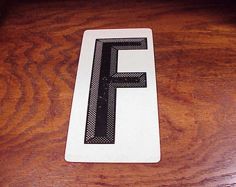 Vintage Black and White Letter F Metal Store Marquee Sign, 9 7/8 Inches Tall, Capital Letter, Shelf Display, Home Decor, Graphic