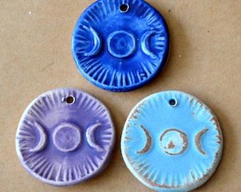 3 Handmade Ceramic Beads - Triple Goddess Moon Pendants - Handmade beads in Stoneware - Spiritual Pagan Pendants - Winter Solstice Gift