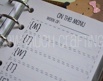 Printed Pocket Size Meal Planning & Grocery List Inserts