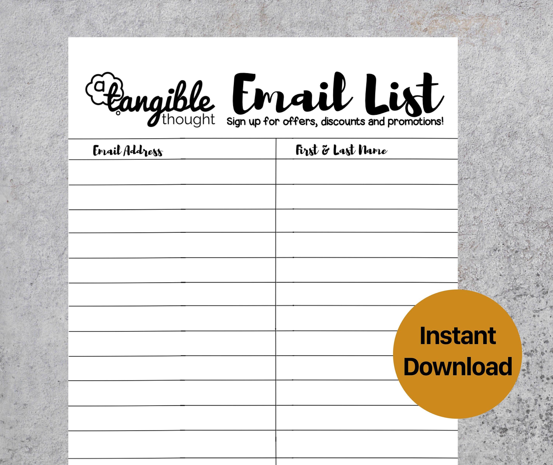 Email List Template Newsletter Sign Up Form Digital PDF