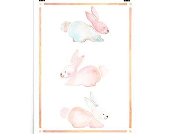 Watercolor,spring,spring bunnies,poster