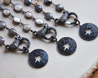 Star  Necklace, Moonstone Necklace, Black Star Necklace, Gunmetal Necklace, Mystic Moonstone, Moonstone, Crystal Necklace, CZ Necklace,Boho