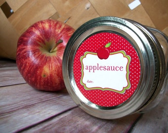 Applesauce canning jar labels, round red mason jar labels for fruit preservation, regular or wide mouth jar stickers