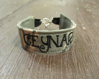 Custom Air Force Name Tape Military Bracelet, Air Force Camo Bracelet, Custom Air Force Jewelry, Air Force Gifts
