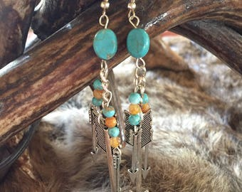 Dangle Turquoise & Arrow Earrings