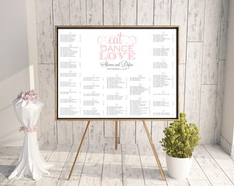 Wedding Seating Chart, DIY Seating Chart, Printable Seating Chart, 18x24, 24x36, 16x20, Rush, Seating Chart PDF, Pink, Gray, Eat Dance Love