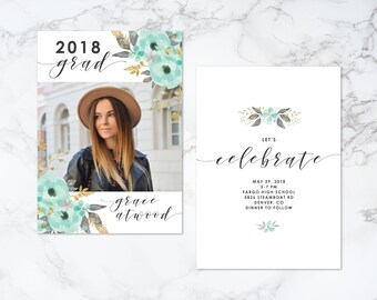 Printable Double Sided Watercolor Floral Theme Photo Card Graduation Invitation or Announcement