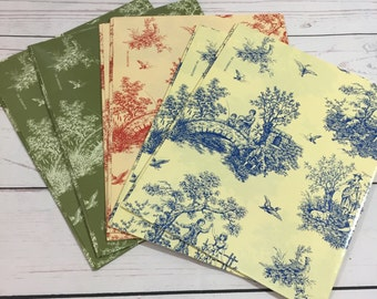 """Toile Gift Wrap Paper Scrapbook Junk Journal 6 Sheets Current 24"""" x 30"""""""