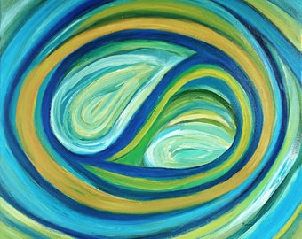 Original colorful turquoise abstract oil painting on canvas, abstract painting, turquoise painting, abstract art