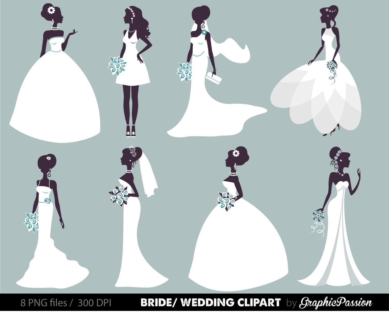 Wedding Clipart Bridal Clipart Bride clipart Digital Bride
