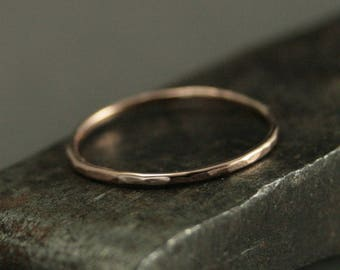Tiny Hammered Band--1mm Full Round Gold Band--Hammered Gold Ring--Gold Midi Ring--Rose Gold Ring--Gold Stacking Ring--Thin Hammered Band