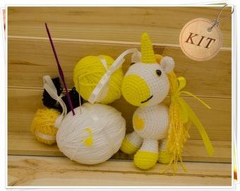 Crochet Unicorn Kit, Amigurumi Unicorn Kit, DIY Unicorn Kit, Yellow Unicorn Kit, Unicorn Craft Kit, DIY Unicorn Toy, Crochet Unicorn Gift