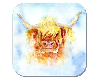 Highland Cow - Cow Coaster (Corked Back) - from an original Sheila Gill Watercolour Painting