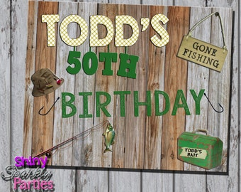 Printable FISHING PARTY SIGN - Fishing Themed Party Sign - Fishing Birthday Party Decoration - Fishing Welcome Party Sign - Fishing Birthday