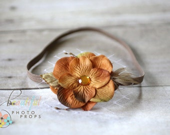 Caramel Brown Feather Veil Flower Headband