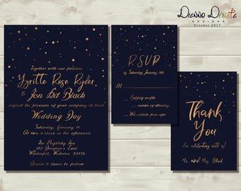 Starry Night Wedding Invitation, Under the Star Announcement, Wedding Printable Invitation,Navy Blue Gold Invitation,Confetti Wedding Invite
