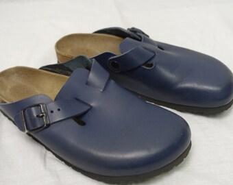 Vintage BOSTON Birkenstock Clog Shoe NATURAL LEATHER Sz-40 Sandal