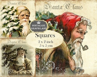 Santa Claus squares Christmas printable  2x2 inch digital collage sheet Instant Download TW164