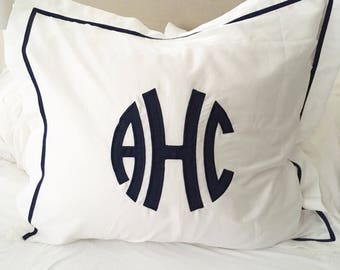 Monogram Applique Euro Sham  / Euro Sham / Duvet / Pillowcase