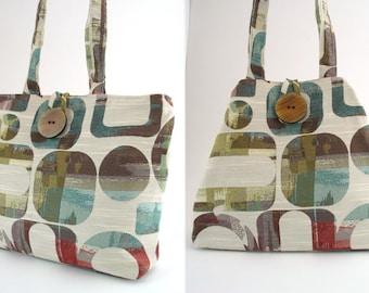 modern tote bag, tote handbag, handmade handbag, shoulder bag, diaper bag, fabric purse