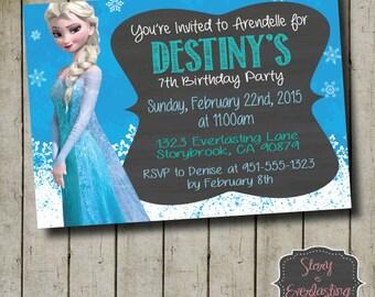 Frozen Elsa Birthday Invitation - Disney's Frozen - Queen Elsa - Digital File - DIY - Printable Invitation