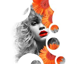DIGITAL COLLAGE A4, black and white portrait, feminine, stylish, vintage fashion magazine pic, face art, floral, orange gerberas, 'Demure'