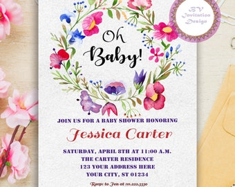 Boho Baby Shower Invite - Watercolor Baby Shower Invitation - Floral Baby Invite - Girl Baby Shower Invitation - Digital Invite, BS-9
