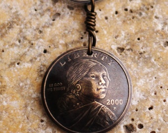 Domed Coin Keychain, Sacagawea, U.S. 1 Dollar, Lewis and Clark Key Ring by Hendywood KCE41