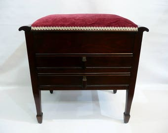 Piano Bench / Dressing Table Stool with Drawers and Under Seat Storage / Reconditioned