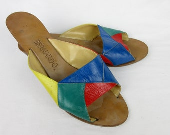 Vintage Italian Leather Rainbow Mule Slides, Sandals  / Low Wedge / Bernardo / Made in Italy / Size 6.5 / Primary Colors / 1960s, 1970s