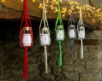 Macrame Advent Calendar Jar, Christmas Countdown, Fill Your Own Advent Calendar, Hanging Advent Calendar, Childrens Advent, Adults Advent