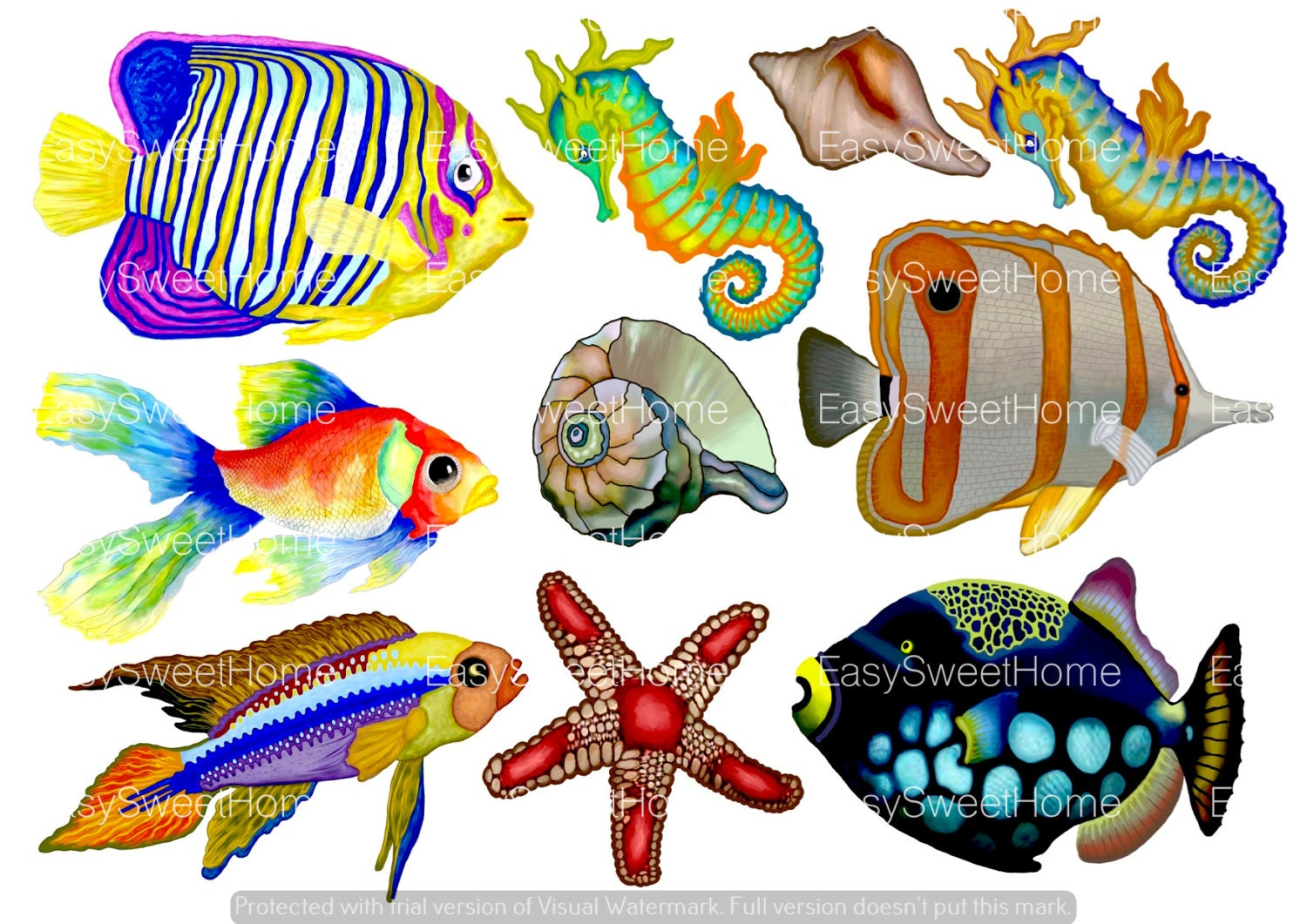 Tropical fish wall decals 10 set undersea bathroom decals zoom jeuxipadfo Images