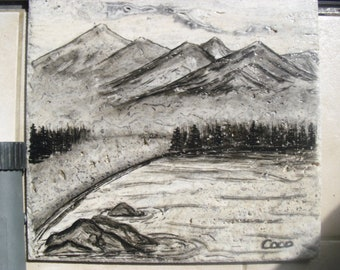 Ink on Stone Handpainted Mountains on Water with Rocks