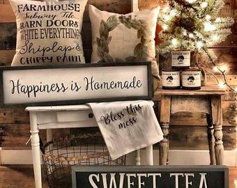 "Handmade wood sign -""Happiness is Homemade"""