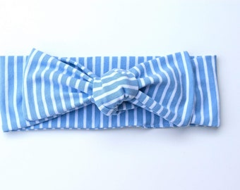 Pinstriped self tie headband