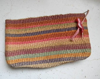 70s 80s Vintage Sisel Woven Striped Straw Clutch with Bird Tassel