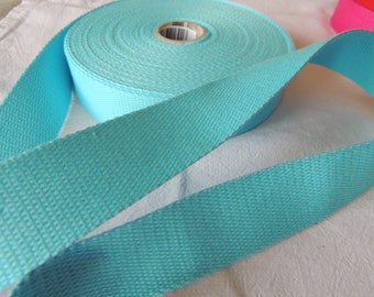 Strap bagagere width 30 mm turquoise blue color cotton
