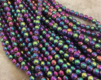 Rainbow Titanium Hematite Round Bead Strand, 6mm, approx. 69 beads per strand