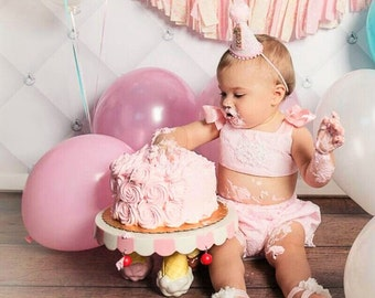 1st Birthday Baby Girl Pink Lace Ruffled Bloomer cake smash set