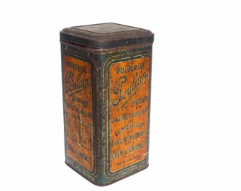 Antique advertisement box French chocolate Poulain Tin - cocoa powder orange old metal box - cottage kitchen Decor rustic